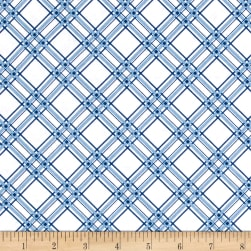 Maywood Studio Kimberbell Basics Diagonal Plaid Blue Fabric