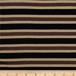 Yarn Dye Jersey Knit Black/Brown/Khaki Stripes