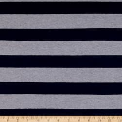 Yarn Dye Jersey Knit Stripe Navy/Light Grey Fabric