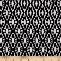 Rayon Challis White Diamond Print on Black