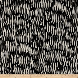 Poly Crepe Abstract Creme Stripes on Black Fabric