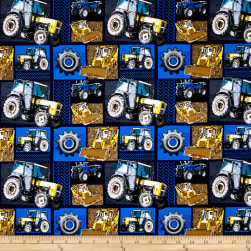 Construction Zone Machinery Patchwork Blue/Multi Fabric
