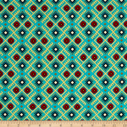Mystical Natives Aztec Argyle Turquoise Fabric