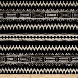 Brushed Sweater Knit Aztec Creme Ikat on Black