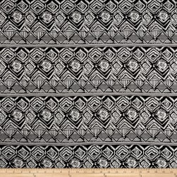 Double Knit Jacquard White Abstract Diamonds/Stripes on Black