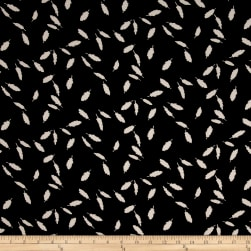 Telio Pebble Crepe White Feathers on Black Fabric