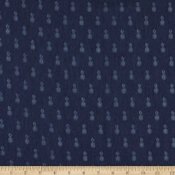 Telio Denim Stretch Chambray Shirting Pineapple Print on Navy Blue Fabric