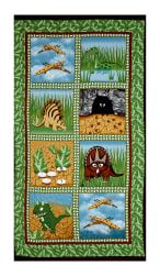 Contempo Dino Age Blocks 23.5'' Panel Green Fabric