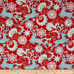 Contempo Nordic Holiday Nordic Reindeer Red Fabric