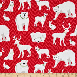 Contempo Nordic Holiday White Animals Red Fabric