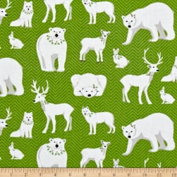 Contempo Nordic Holiday White Animals Green Fabric