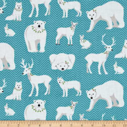 Contempo Nordic Holiday White Animals Teal Fabric
