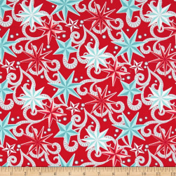 Contempo Nordic Holiday Nordic Star Red Fabric