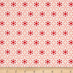 Contempo Nordic Holiday Small Snowflakes Pink Fabric