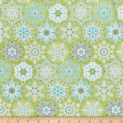 Contempo Nordic Holiday Geo Snowflake Light Green Fabric