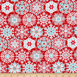 Contempo Nordic Holiday Geo Snowflake Red Fabric