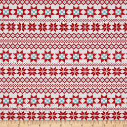 Contempo Nordic Holiday Nordic Stripe Red Fabric