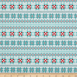 Contempo Nordic Holiday Nordic Stripe Teal Fabric