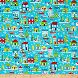 Contempo Mulberry Lane Village Dark Turquoise Fabric