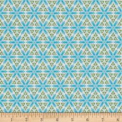 Contempo Mulberry Lane Star Geo White/Turquoise Fabric