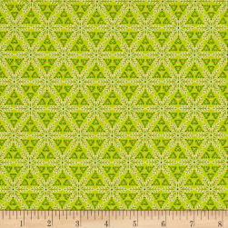 Contempo Mulberry Lane Star Geo Lime Fabric
