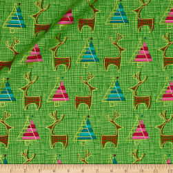 Contempo Merry Little Christmas Metallic Reindeer Lime Fabric