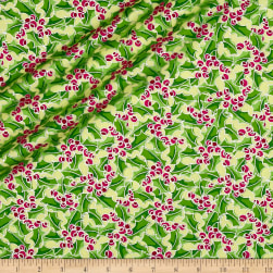 Contempo Merry Little Christmas Metallic Holly Butter Fabric