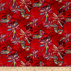 Contempo Anything Goes Leaves Red Fabric