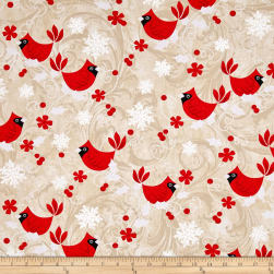 Kanvas Winter Story Red Cardinal Cream Fabric