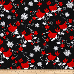 Kanvas Winter Story Red Cardinal Black Fabric
