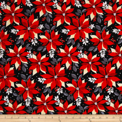 Kanvas Winter Story Poinsettia Black Fabric