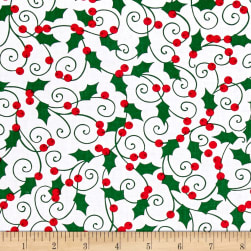 Kanvas Winter Story Holly Berry White Fabric