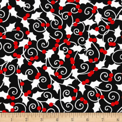 Kanvas Winter Story Holly Berry Black Fabric