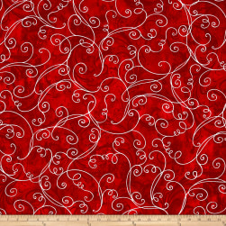 Kanvas Winter Story Vine Scroll Red Fabric