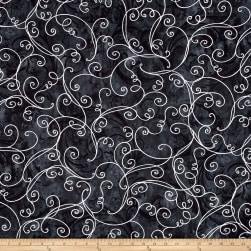 Kanvas Winter Story Vine Scroll Black Fabric
