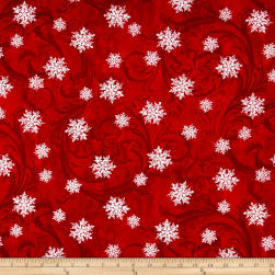 Kanvas Winter Story Snowflake Scroll Red Fabric