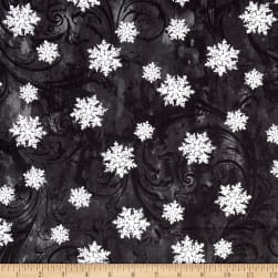 Kanvas Winter Story Snowflake Scroll Black Fabric