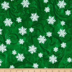 Kanvas Winter Story Snowflake Scroll Green Fabric