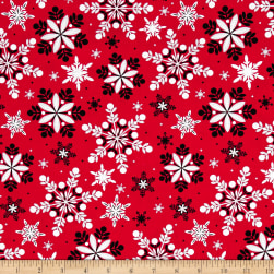 Kanvas Winter Story Packed Snowflake Red Fabric