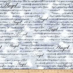 Kanvas Heaven Sent Angel Script Gray Fabric