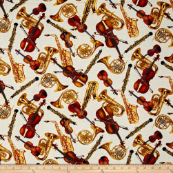 Kanvas Encore Tossed Horns & Strings Cream Fabric