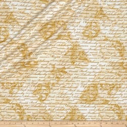 Kanvas Encore Metallic Composers Scroll Ivory Fabric