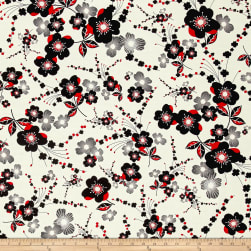 Kanvas Moon Flower Plum Flower Cream Fabric