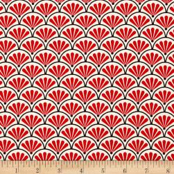 Kanvas Moon Flower Fan Geo Scallop Cream/Red Fabric
