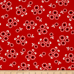 Kanvas Moon Flower Moon Button Red Fabric
