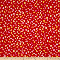 Kanvas Patio Splash Rainbow Dot Red Fabric