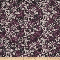 Nature's Palette Batiks Floral Spray Eggplant Fabric