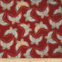 Butterfly Fandango Metallic Butterfly Dark Red