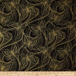 Butterfly Fandango Metallic Gold Outline Butterfly Black Fabric