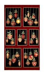 "A Festive Season Metallic Festive Ornaments 24"" Panel Black"
